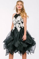 Jovani Floral Short Dress with Tiered Skirt 47503