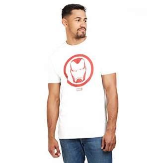 Marvel Iron Man Emblem-Mens T Shirt-White-LRG WHT, Large (Size:Large)