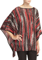 Misook Thora Striped 3/4-Sleeve Tunic, Red/Multi