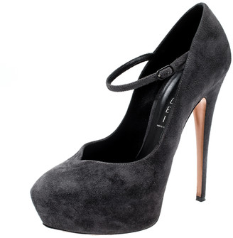 Casadei Grey Suede Marry Jane Platform Pumps Size 38.5