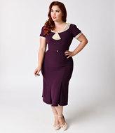 Stop Staring Exclusive Plus Size 1930s Eggplant Purple & Ivory Railene Dress