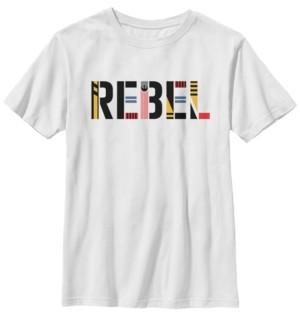 Star Wars Big Boys Rebel Pattern Text Short Sleeve T-Shirt