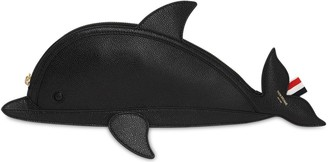 Thom Browne FLAT GRAINED LEATHER DOLPHIN CLUTCH
