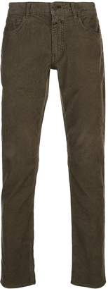 Closed low-rise corduroy trousers