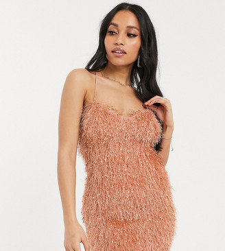 ASOS DESIGN Petite exclusive faux feather cami mini dress in pink