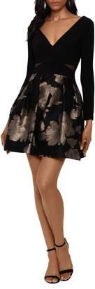 Xscape Evenings Deep V-Neck Fit--Flare Dress