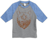 Urban Smalls Heather Gray & Blue Bear Head Raglan Tee - Toddler & Boys