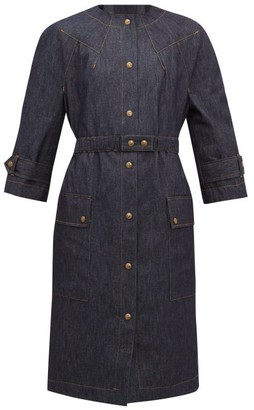 Symonds Pearmain - Belted Patch-pocket Denim Coat - Denim