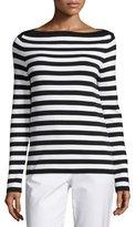 Michael Kors Striped Boat-Neck Sweater, Black/White
