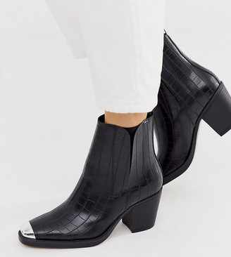 Truffle Collection wide fit western toe cap heeled boots in croc