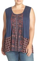 Lucky Brand Plus Size Women's Mixed Print Tank