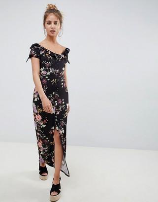 ASOS DESIGN button through sweetheart neck maxi dress in floral print