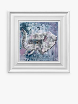 YARDART - Jess Yelland 'Abayomi the Elephant' Outdoor Framed Print, 67 x 67cm, Light Blue