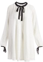 Mimichica Ivory & Black Lace Tie-Neck Shift Dress