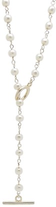 Salome Bridal Collection Silver Pearl Lariat Necklace