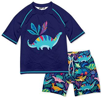Millie & Maxx Boys' Board Shorts Dino - Navy & Turquoise Dinosaurs Short-Sleeve Rashguard Set - Infant, Toddler & Boys