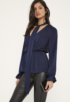 Missguided Blue Hammered Satin Tie Neck Blouse