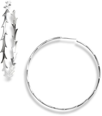 Argentovivo Sterling Silver Large Thorny Hoop Earrings
