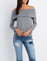 Charlotte Russe Foldover Off-The-Shoulder Sweatshirt