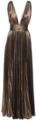 Roberto Cavalli Pleated Lame Chiffon Long Dress