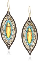 Miguel Ases Topaz Quartz Leather Enclosed Marquise Turquoise Accented Drop Earrings