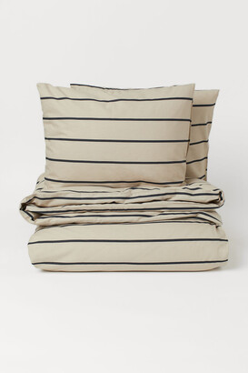 H&M Striped duvet cover set - Beige