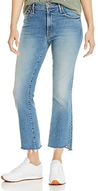 Mother Insider Step Hem Cropped Flared Jeans in Shoot To Thrill