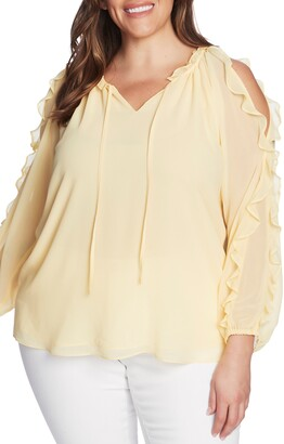 1 STATE Ruffle Cold-Shoulder Georgette Top