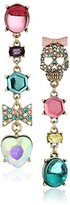 """Betsey Johnson Sweet Shop"""" Pave Skull and Bow Mixed Multi-Colored Stone Mismatch Linear Drop Earrings"""