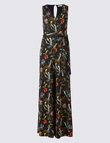 Per Una Floral Print Flared Jumpsuit with Belt