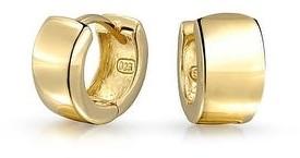 Bling Jewelry Rose Gold Plated Sterling Silver Wide Hoop Earrings Men Women