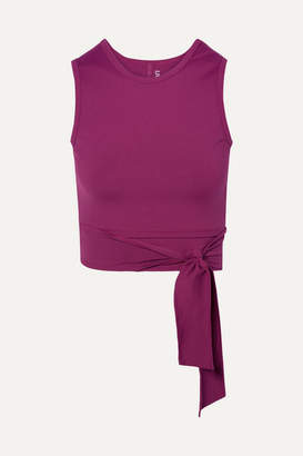 Live The Process Ballet Cropped Tie-front Stretch-supplex Top - Plum