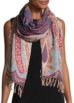 Sabira Desiree Paisley Wool Stole, Lilac