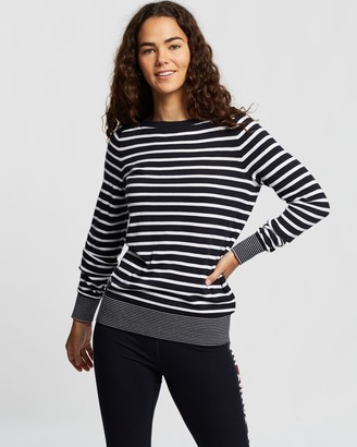 Tommy Hilfiger Women's Blue Jumpers - Essential Stripe Boat-Neck Sweater - Size XS at The Iconic