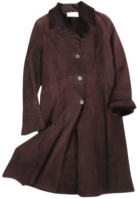 Valentino Burgundy Shearling Coat for Women Vintage