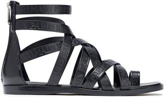 Balmain Logo-embossed Leather Sandals