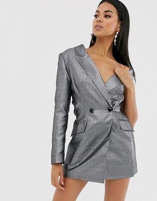 ASOS DESIGN metallic one shoulder long line blazer