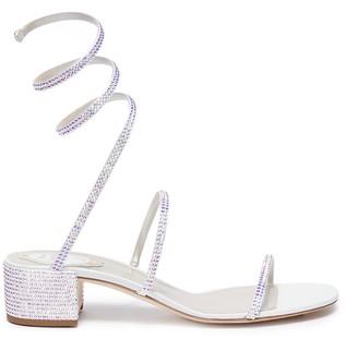Rene Caovilla 'Cleo' strass coil anklet satin sandals