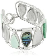 "Robert Lee Morris Let's Turquoise About It"" Mixed Semiprecious Turquoise Stone Toggle Bracelet, 7.5"""