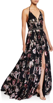 Jovani Floral Accordion Pleated Halter Gown