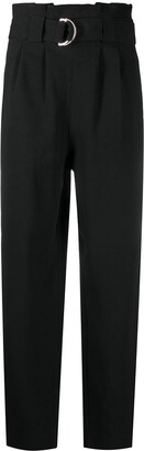 Ganni Belted Straight-Leg Trousers