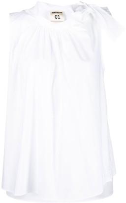 Semi-Couture Bow-Collar Sleeveless Blouse
