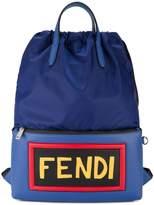 Fendi Logo Leather Backpack