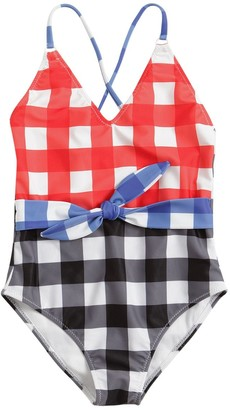 Stella Jean Gingham Print One Piece Swimsuit