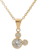 FINE JEWELRY Disney 14K Yellow Gold Cubic Zirconia Mickey Mouse Pendant Necklace