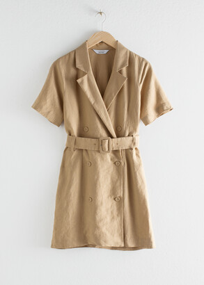 And other stories Belted Linen Trench Mini Dress