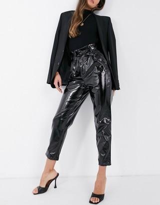 NA-KD paperbag waist vinyl pants in black