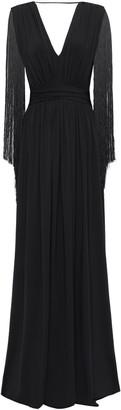 Alberta Ferretti Gathered Fringe-trimmed Jersey Gown