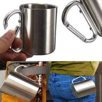 Geneirc 7.5 OZ Portable Cup portablecup Outdoor Camping Cup Stainless Steel Coffee Mug Travel Mug Carabiner Hook Double Wall