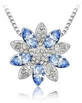 """Miki&Co Silver Swarovski Elements Women's Crystal Snow Lotus Flower Pendant Necklace , 17.7"""", with a Gift Box"""